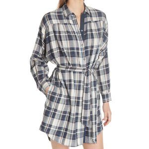 ATM Cotton Plaid Belted Button Down Blue Dress XS